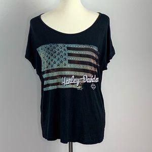Harley Davidson Embellished American Flag XL